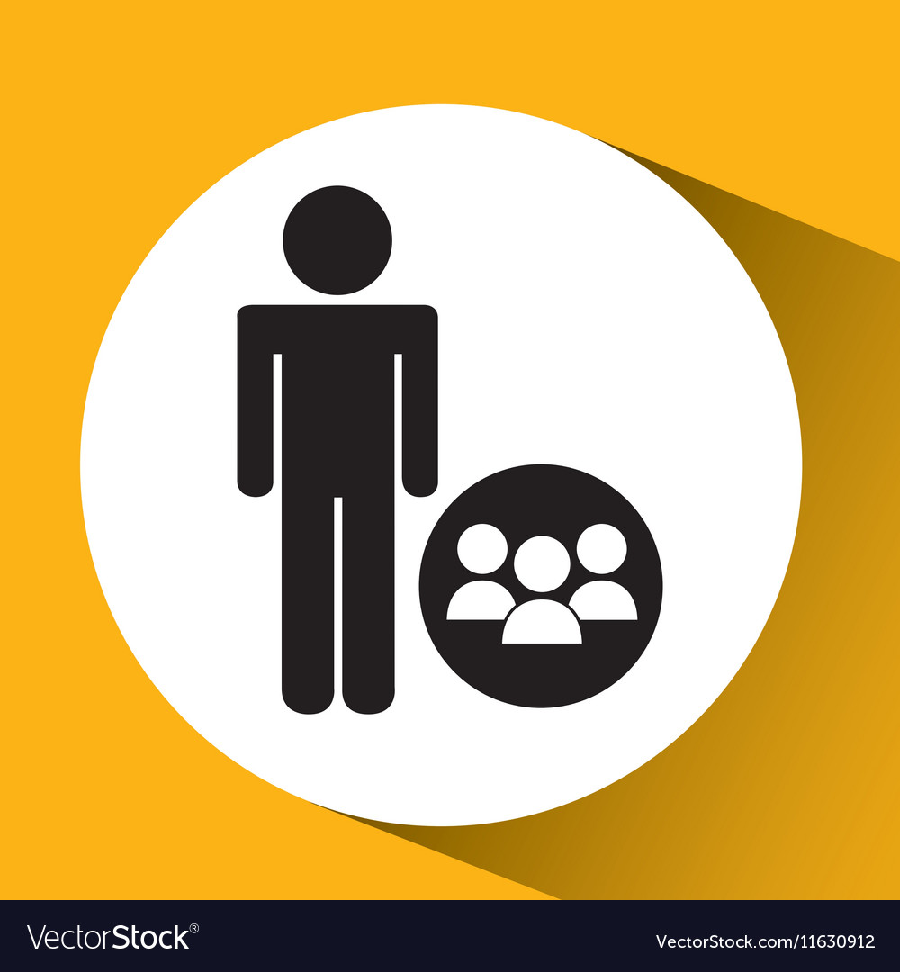 Silhouette man group social network design vector image