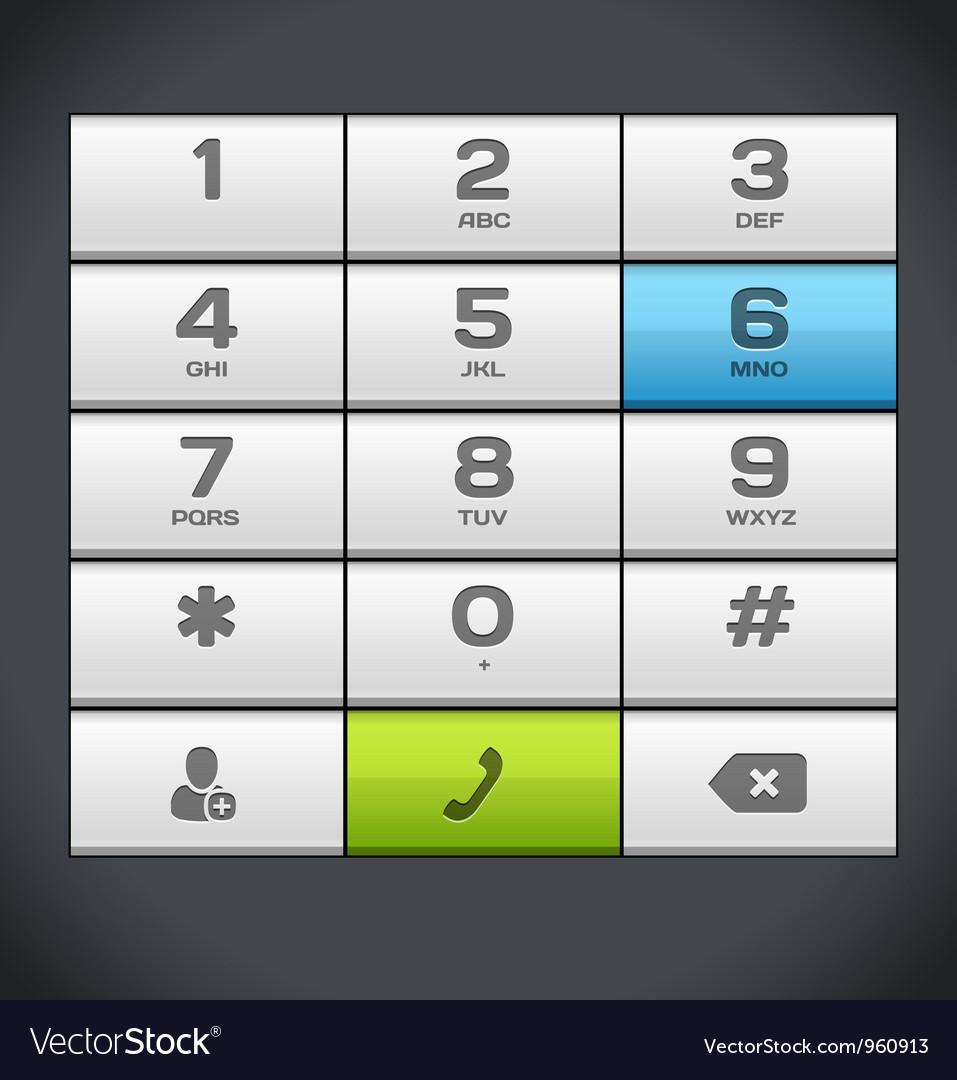 White Number Phone Keypad vector image