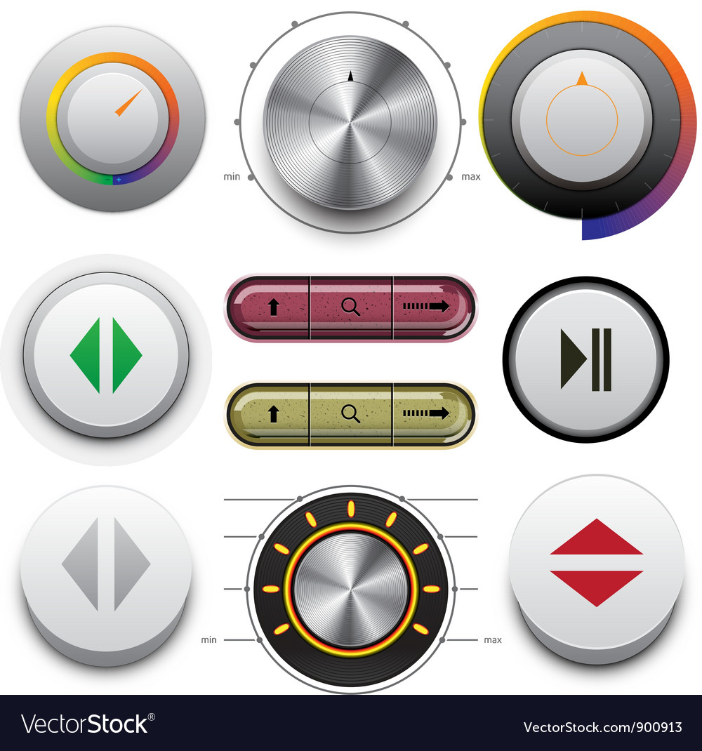 Buttons Set for Web and Mobile vector image