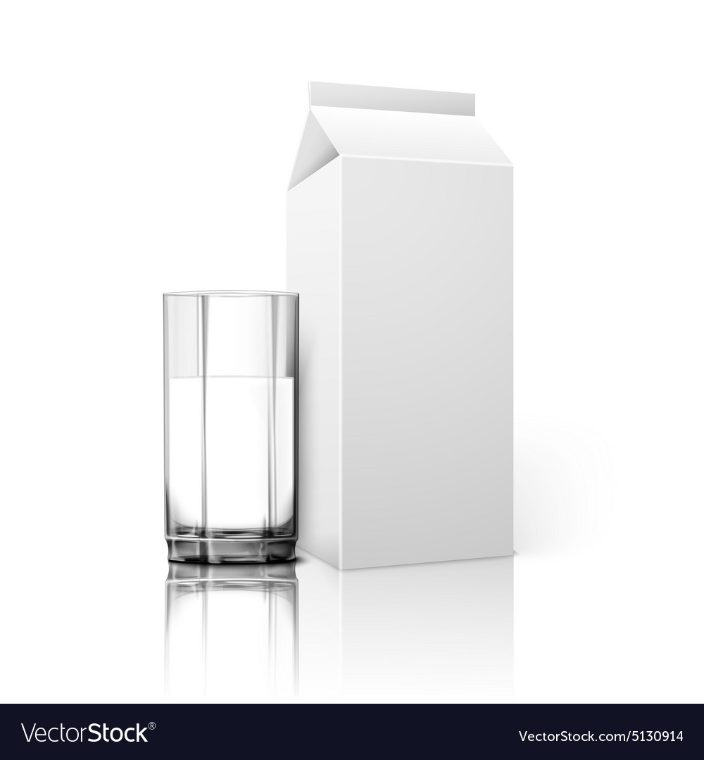 Realistic blank paper package and glass for milk vector image