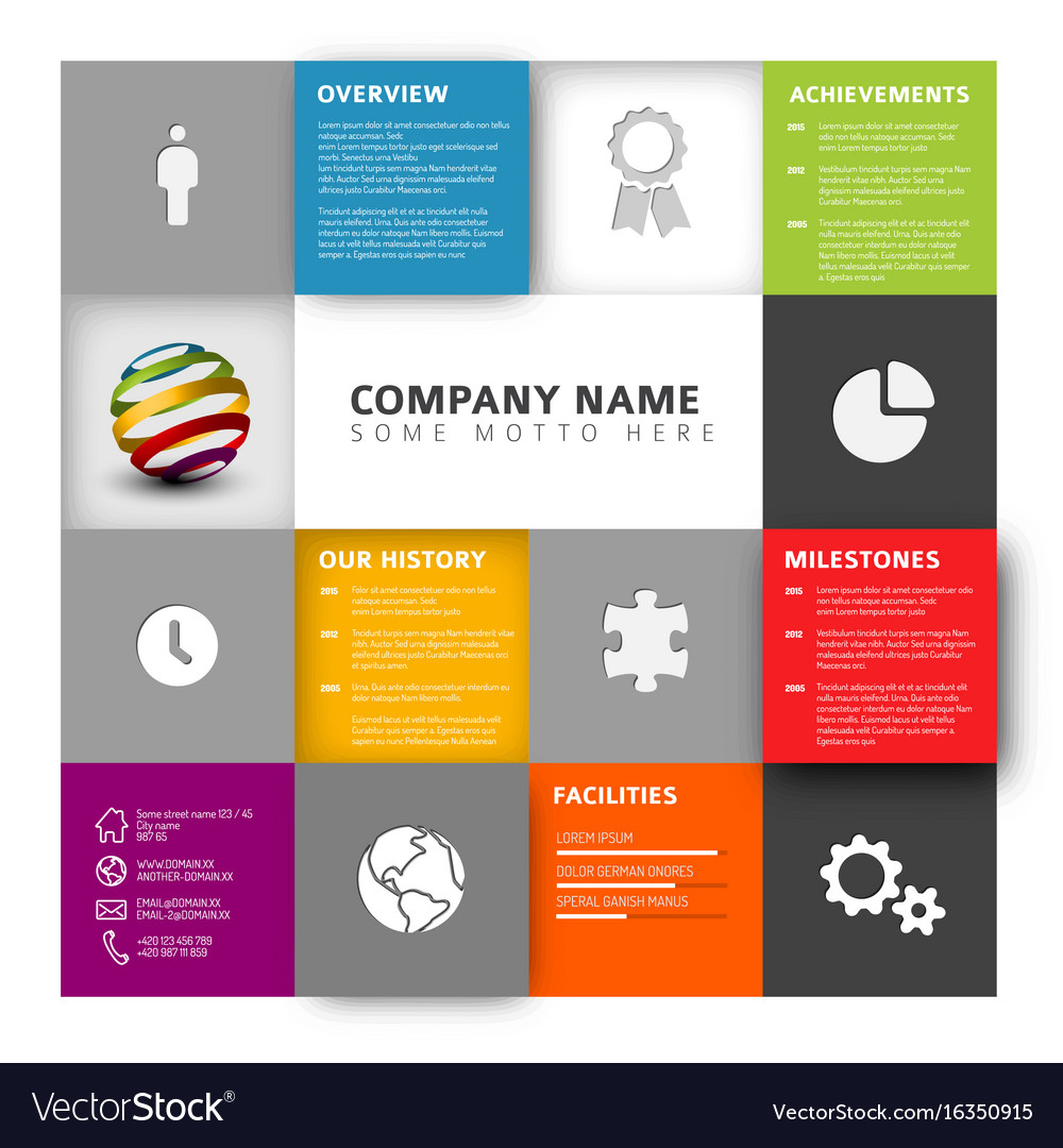 Mosaic company profile template Royalty Free Vector Image