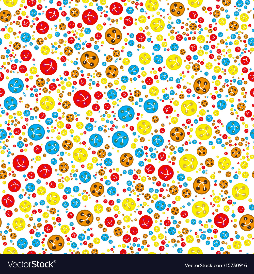 Pattern with red orange blue yellow buttons vector image