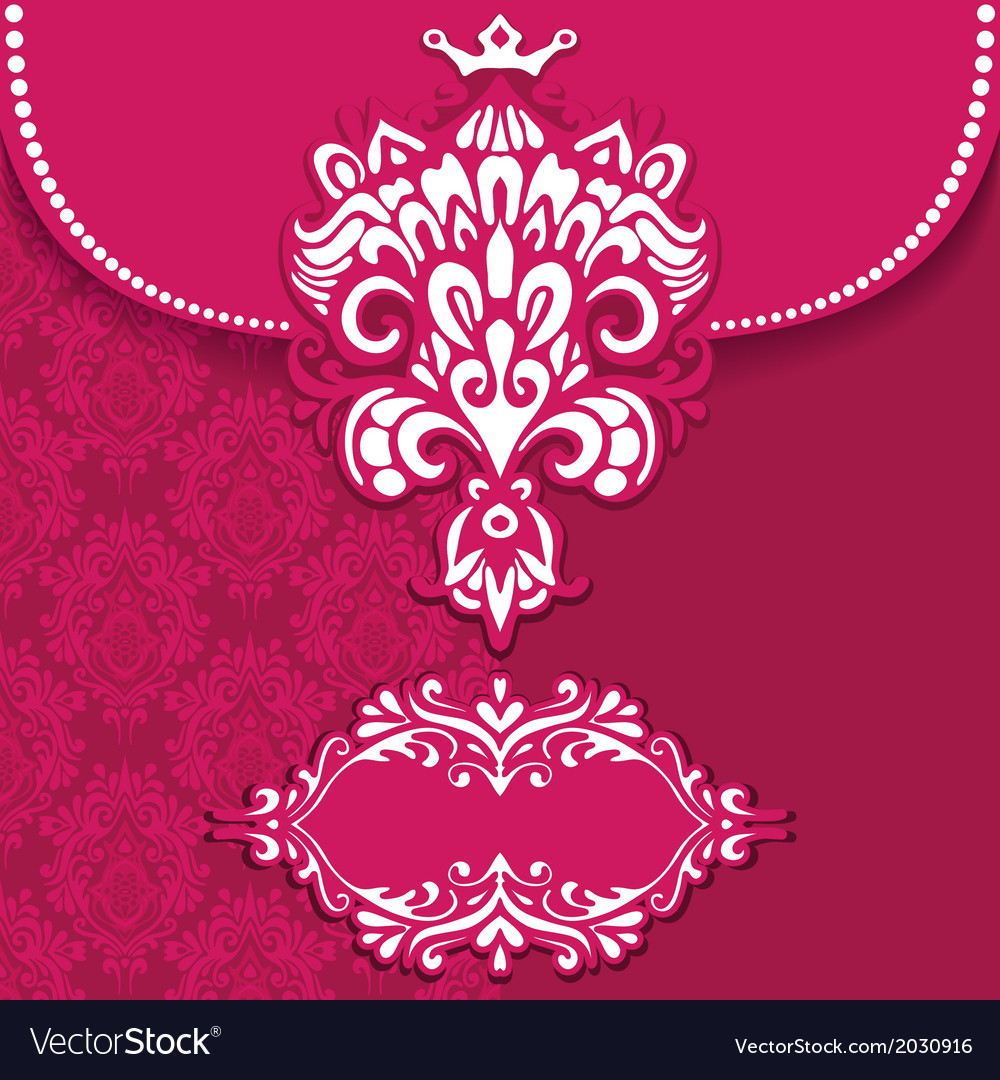 Pink Luxury royal card frame vector image