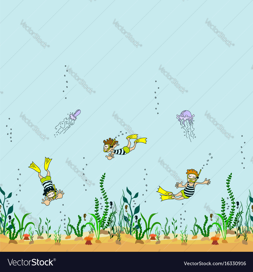 Seamless border of seabed with seaweed swimmer vector image