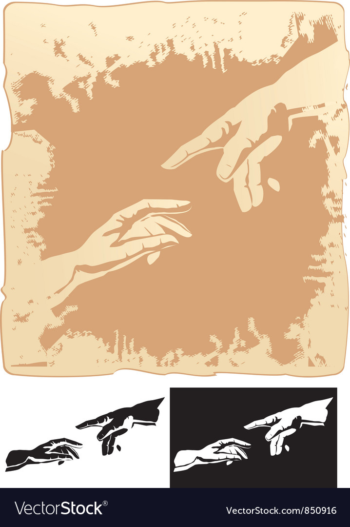 Two hands stylized for michelangelo creation mural vector image