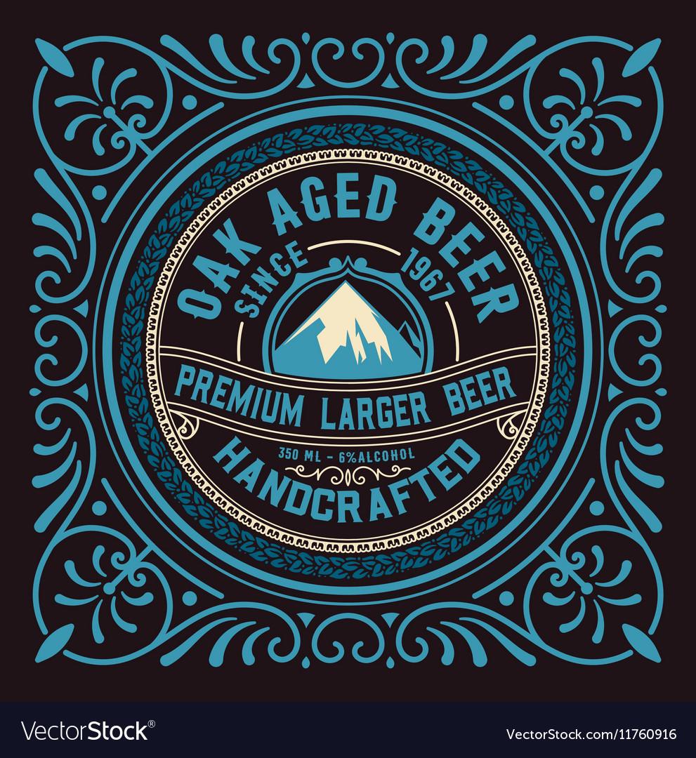 Vintage label design for beer and Wine label vector image