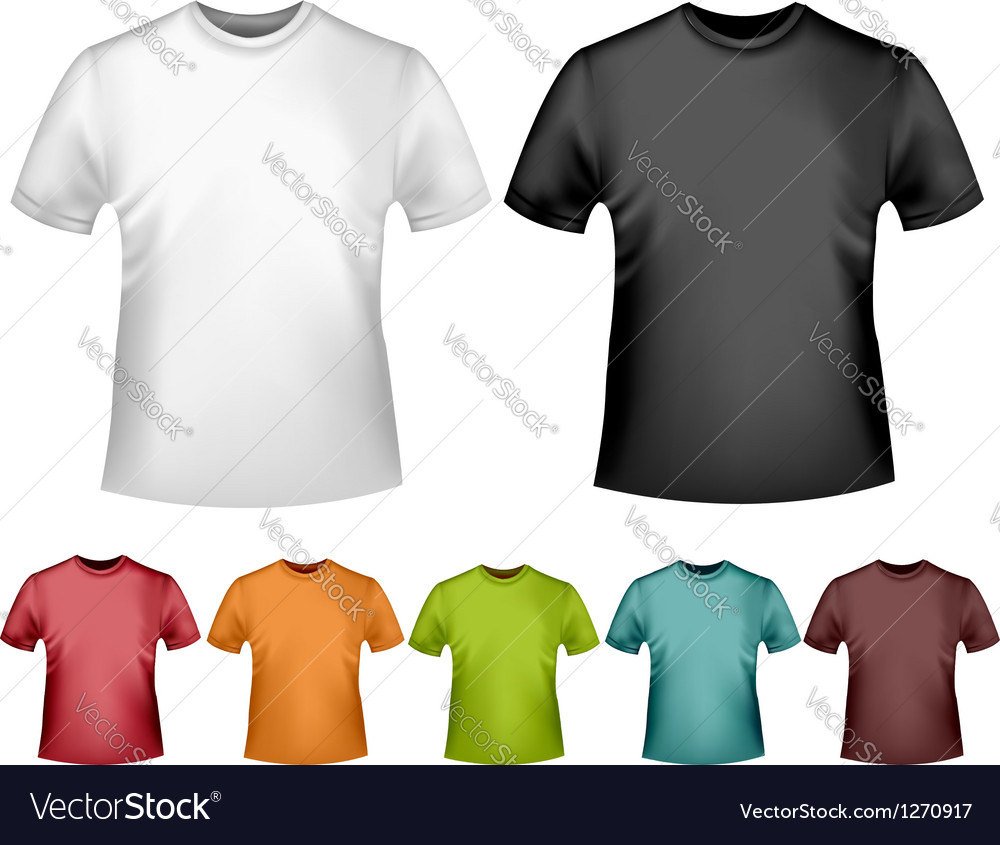 Black and white and color men polo t-shirts Design vector image