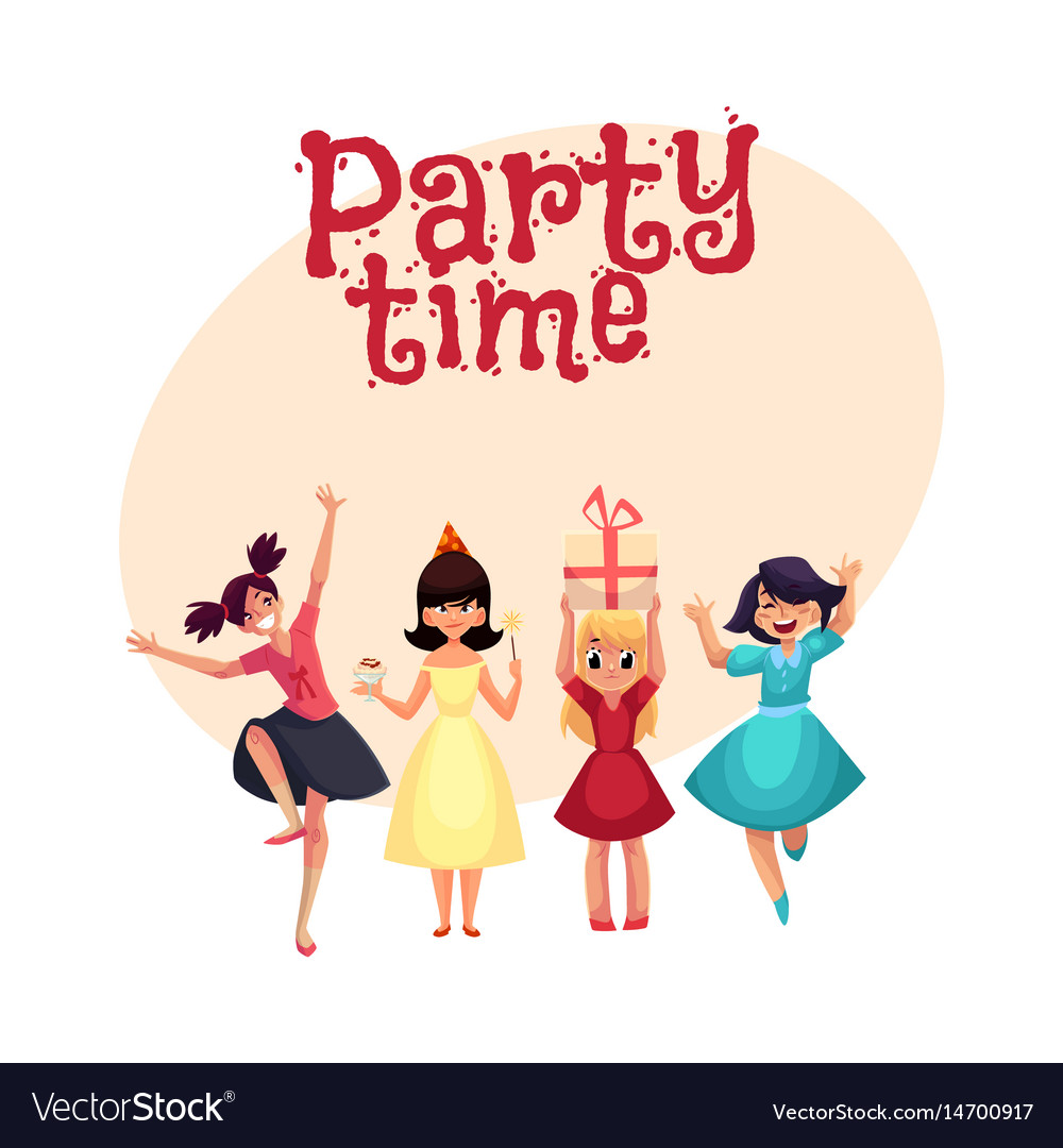 Four various girls in colorful dresses having fun vector image