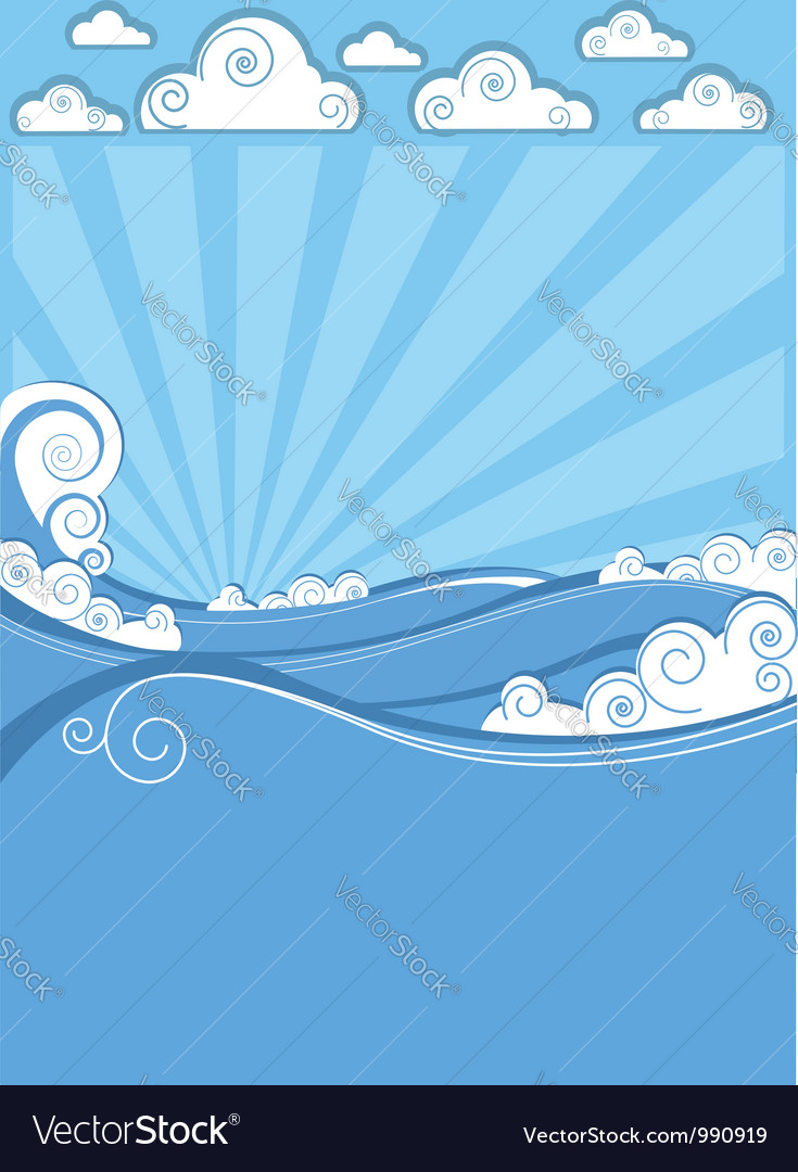 Sea waves in sun day abstract image vector image