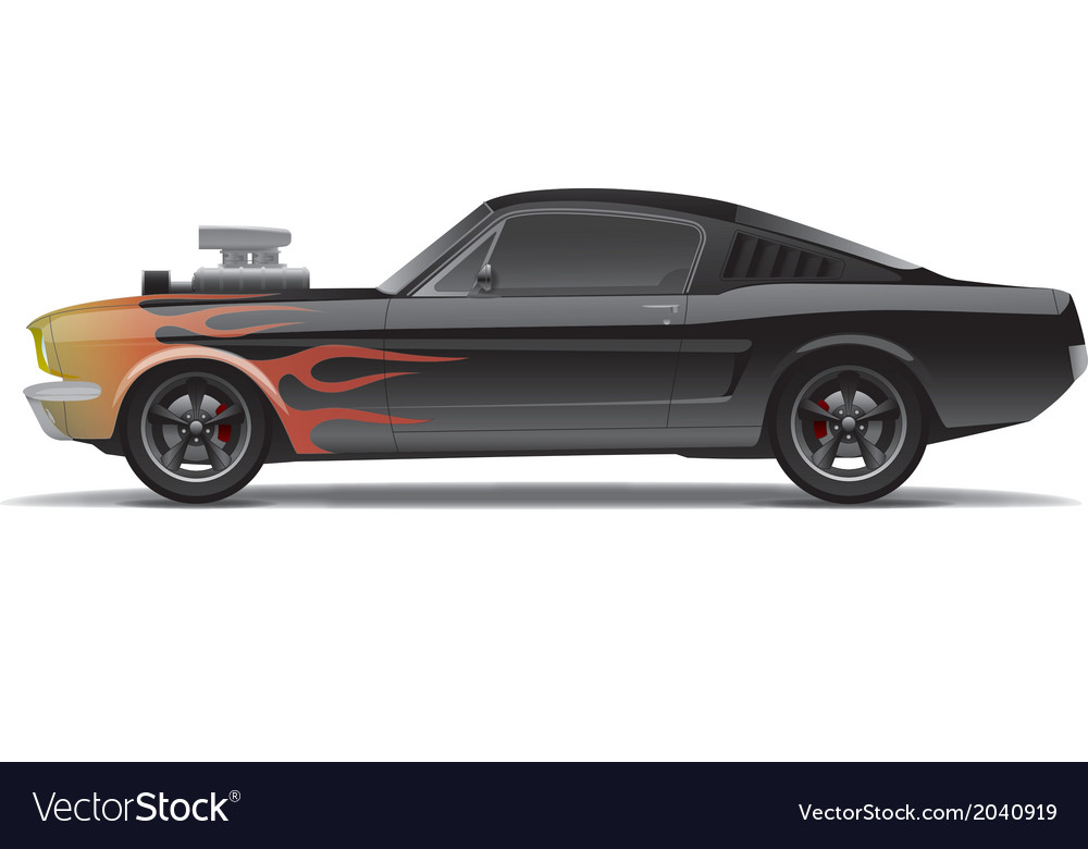 Muscle Car With Flames Royalty Free Vector Image