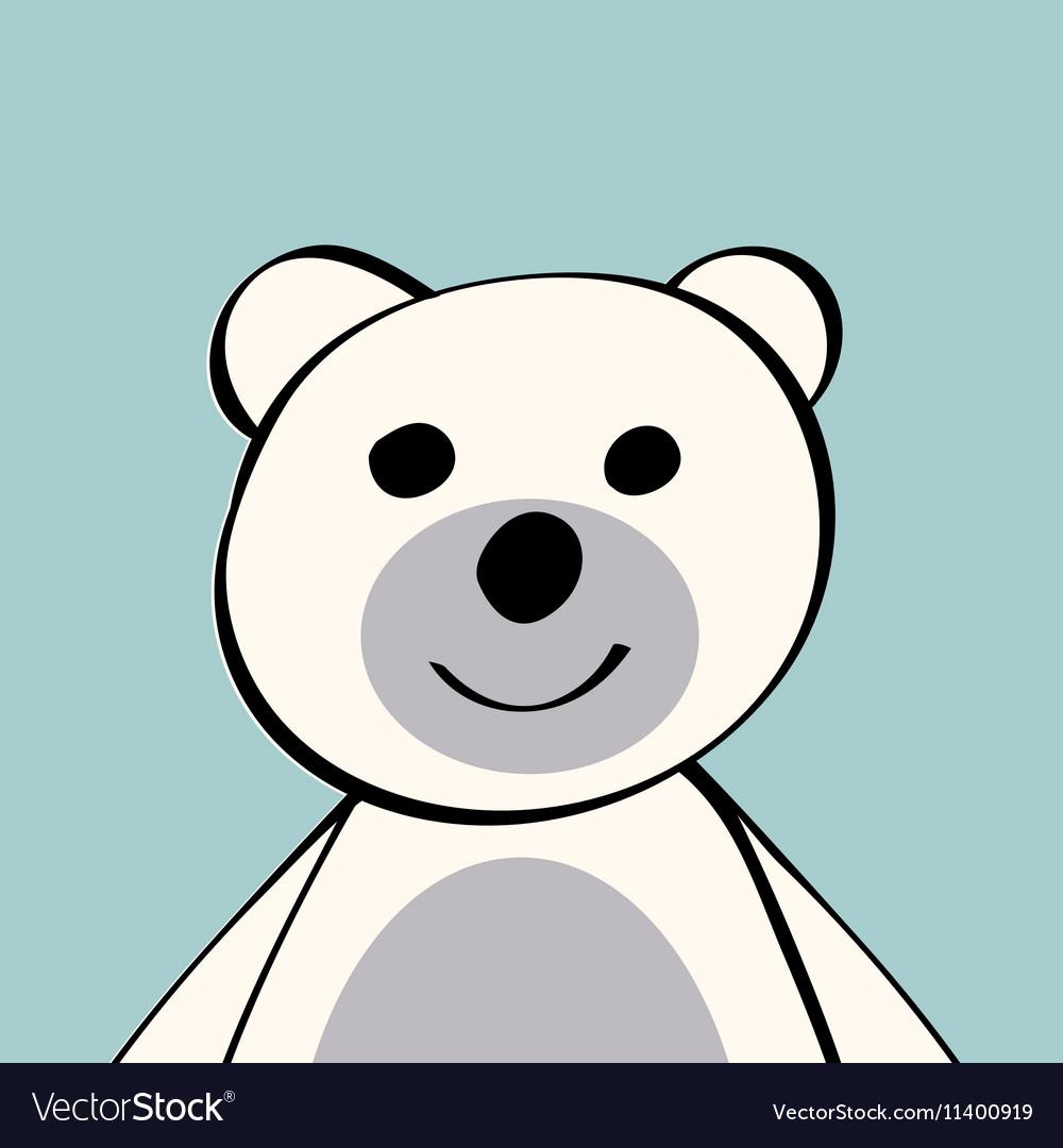 White Bear funny cartoon animal toy vector image