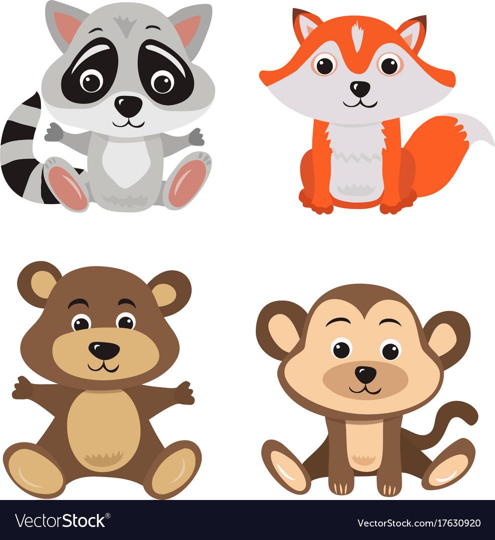 Cartoon of seven baby animals racoon vector image