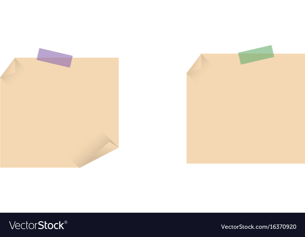 Set of yellow sticky notes isolated on white vector image