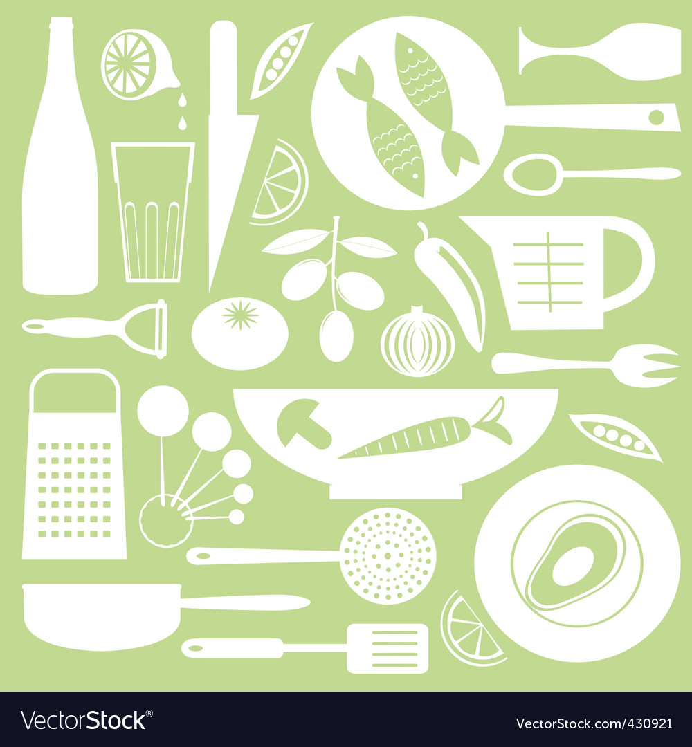 Kitchen collection vector image