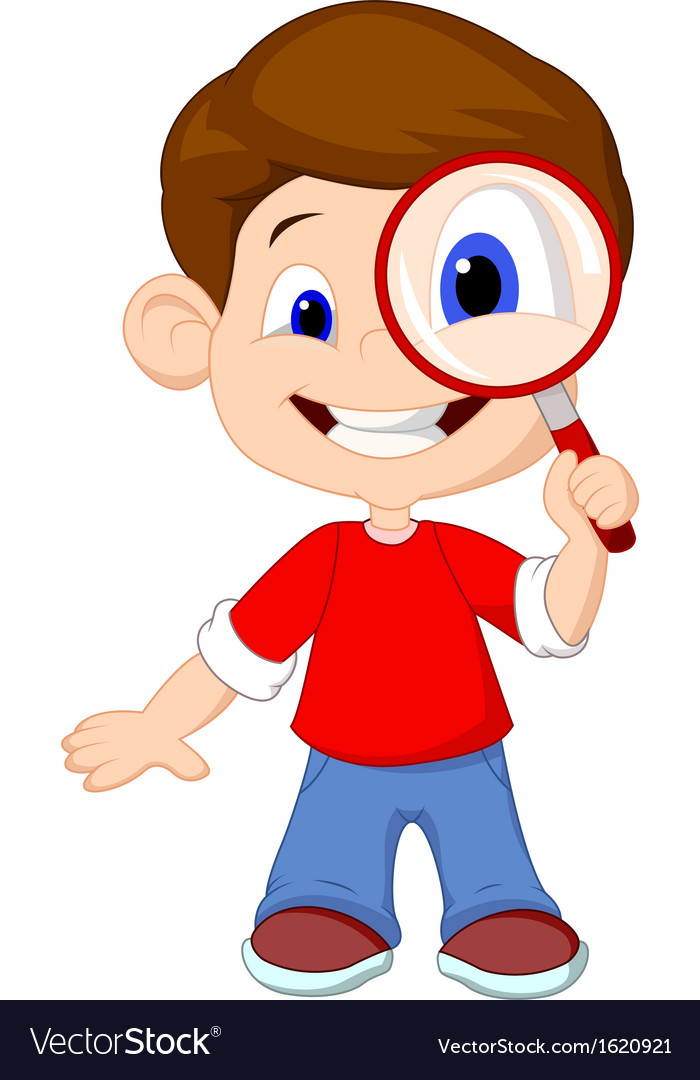Cartoon a boy and a magnifier vector image
