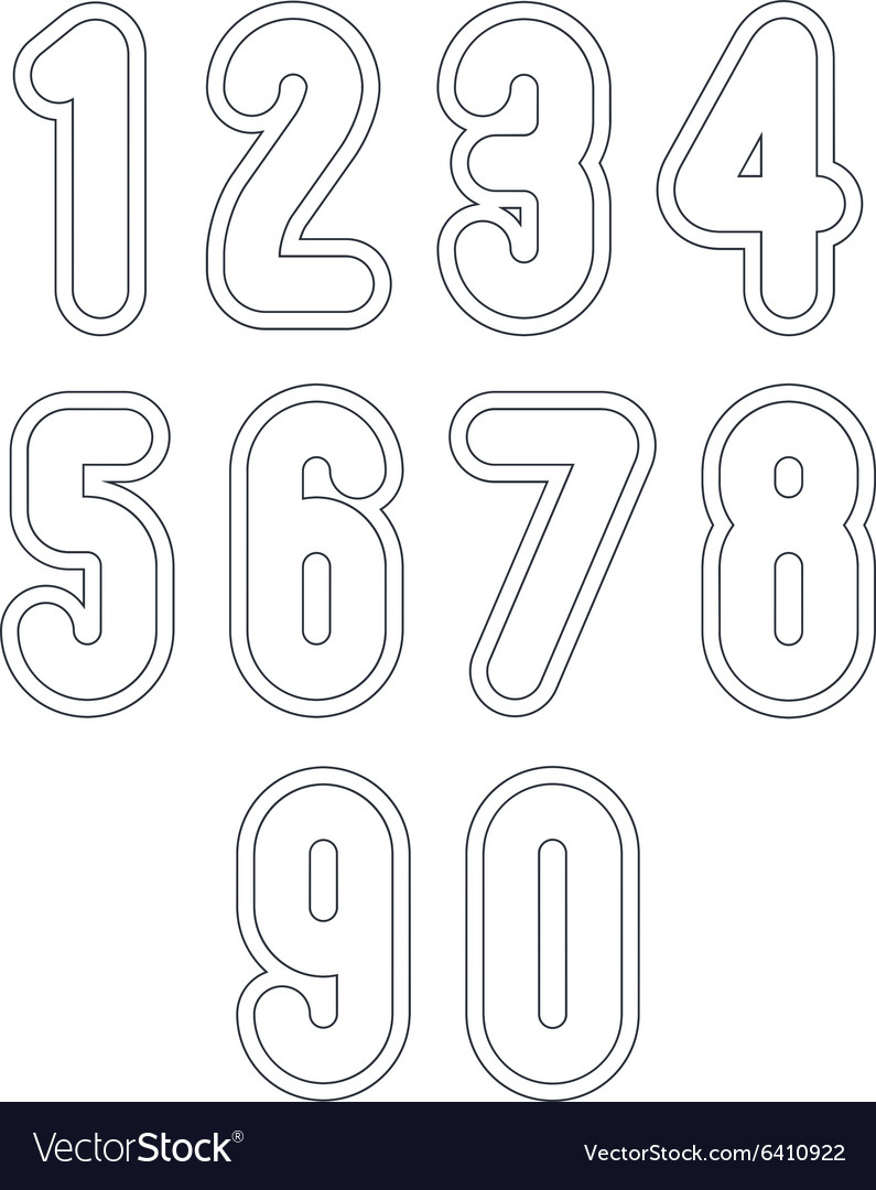 Double clear delicate line retro numbers set light vector image