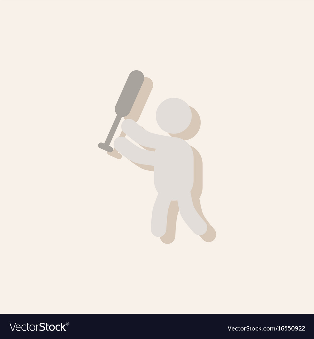 Silhouette of a baseball player in sticker style