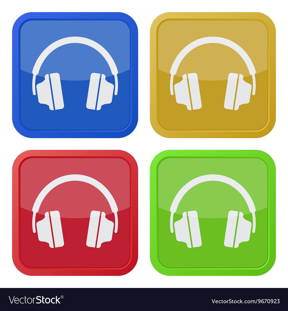 Set of four square icons with headphones vector image