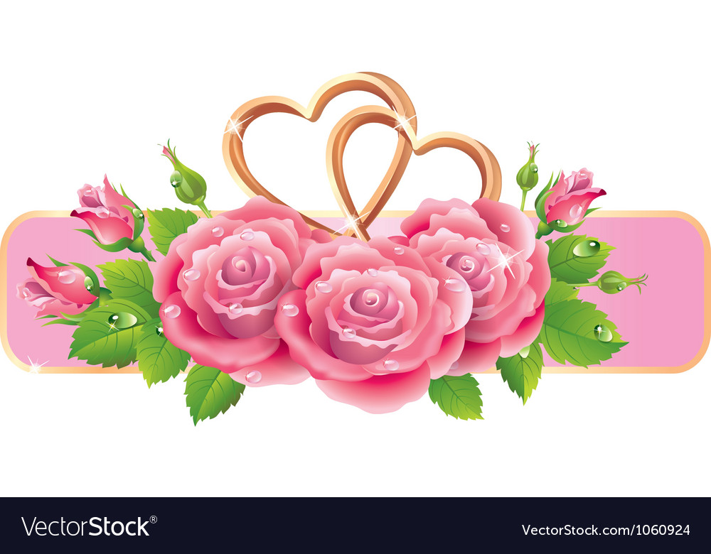 Banner with roses and hearts Vector Image