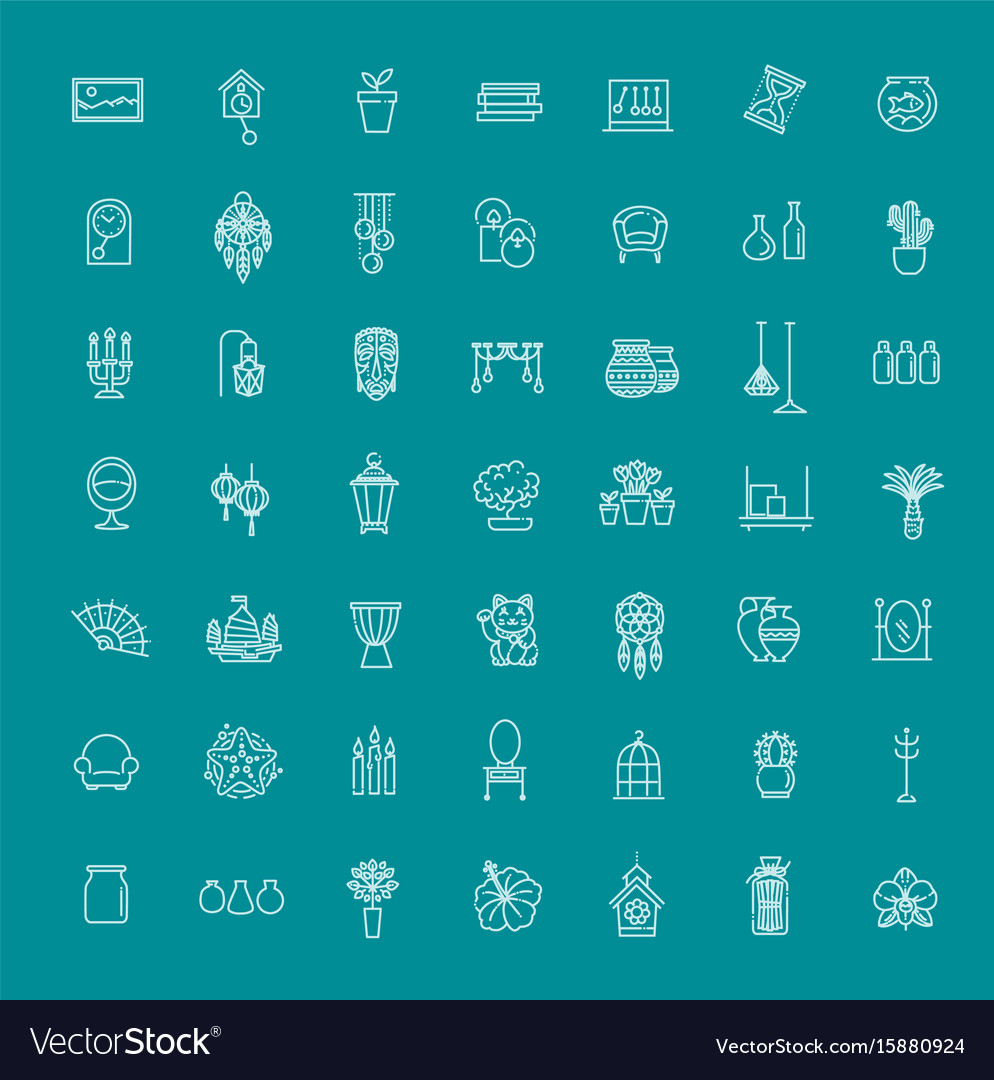 Home decoration thin line icons royalty free vector image Home decoration vector free