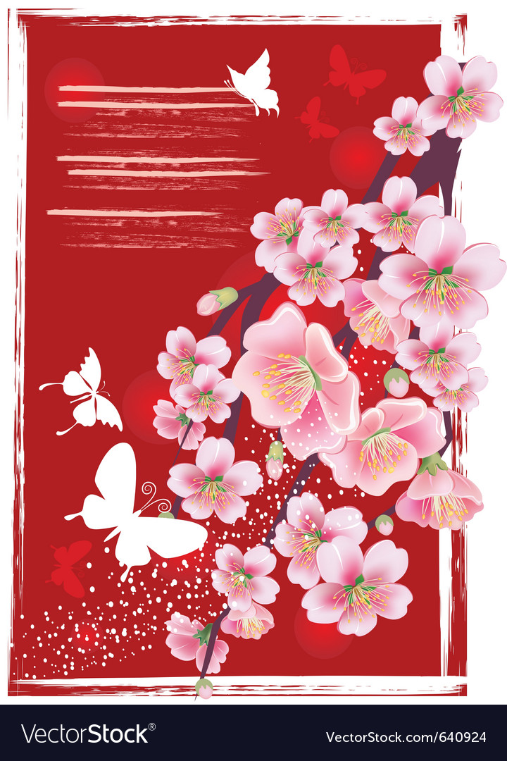 Flowering branch in the red vector image