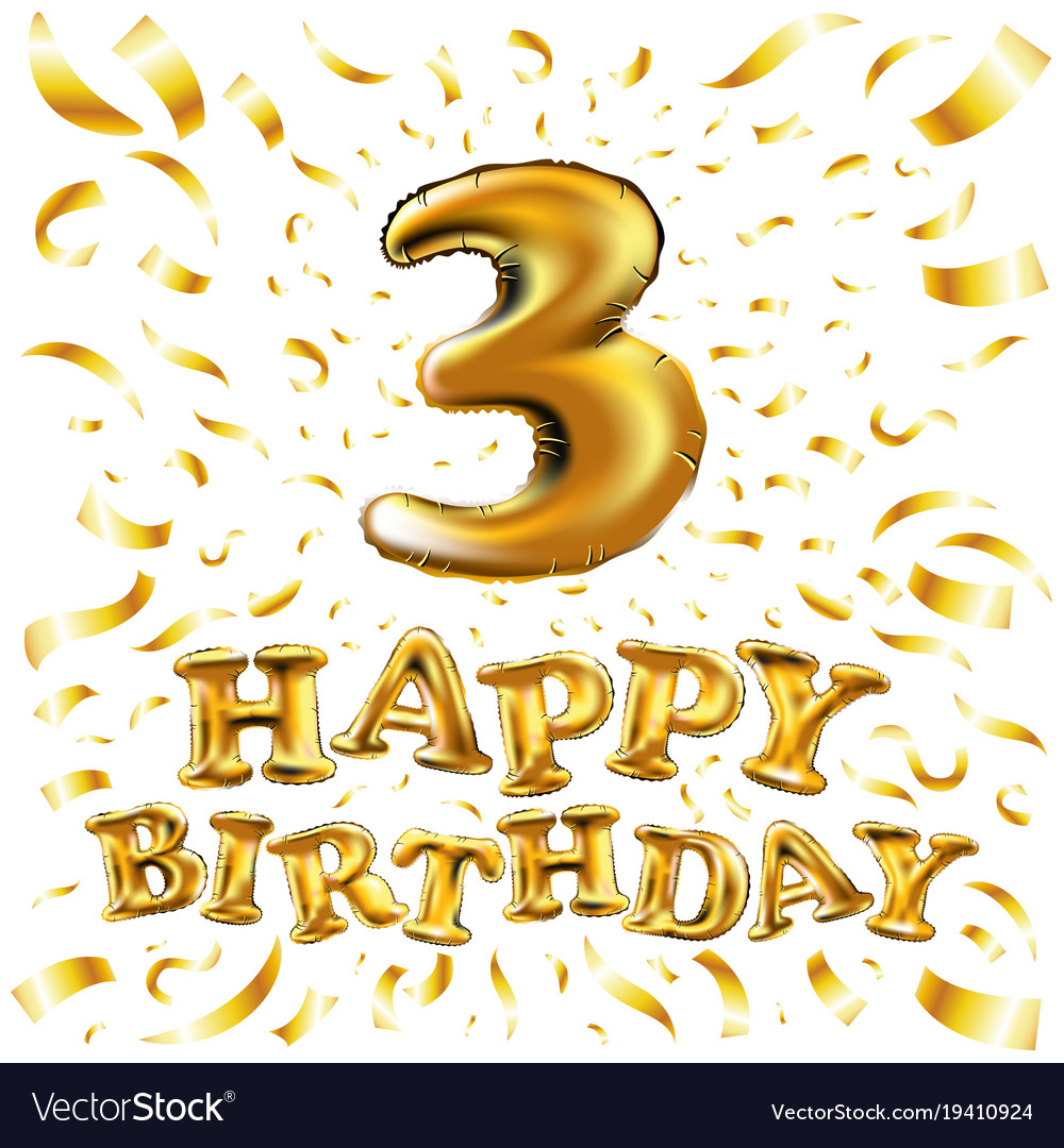 Golden number three 3 metallic balloon party vector image