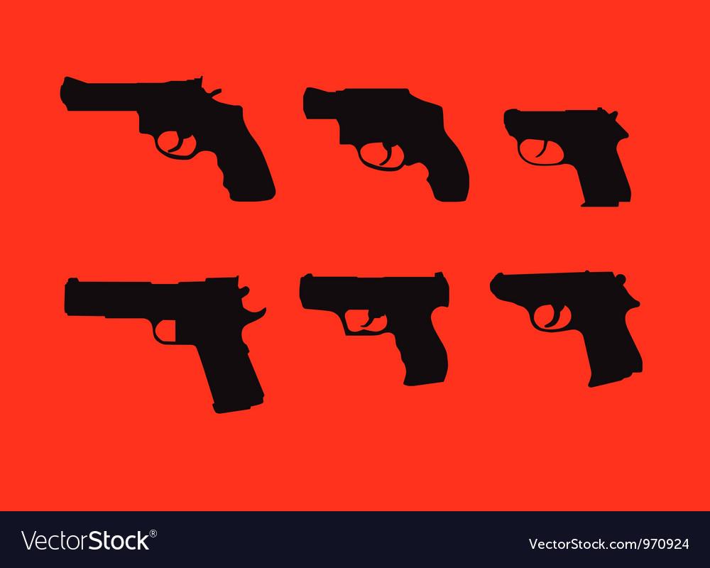 Hand guns silhouettes vector image