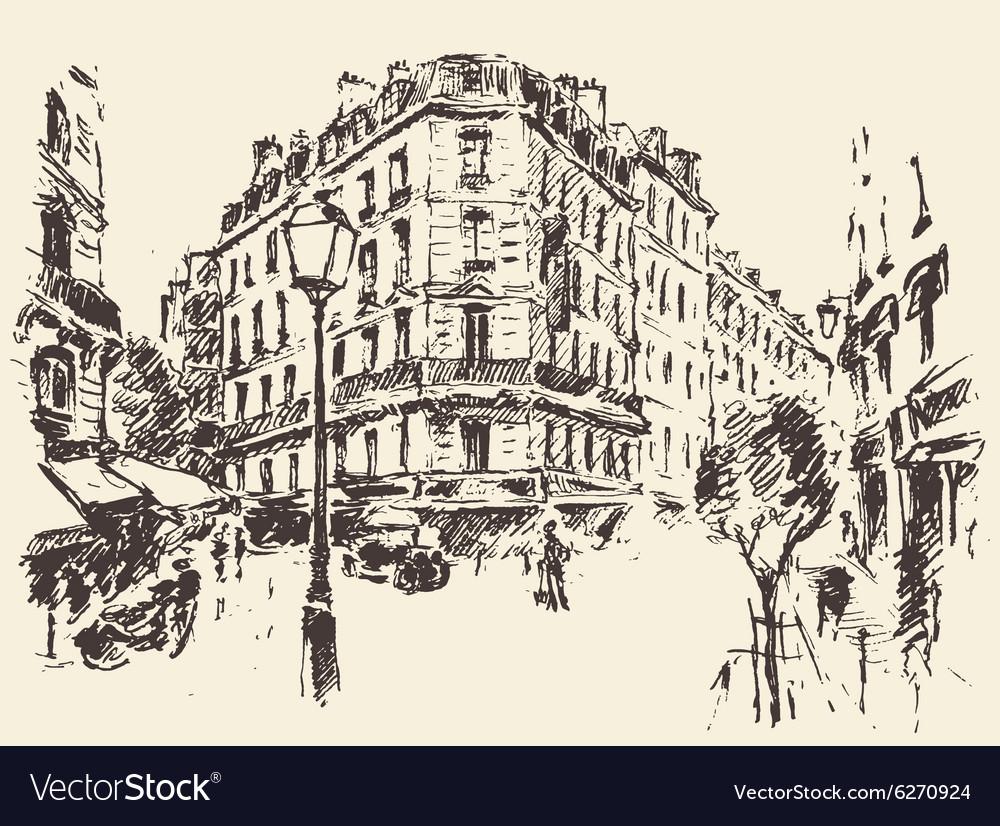 Streets Paris France vintage drawn vector image