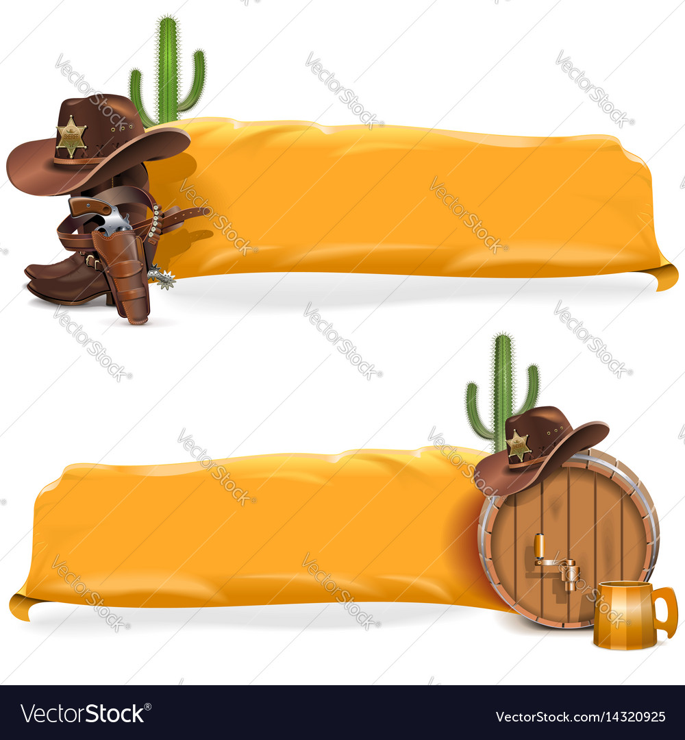 Cowboy billboards with yellow flag vector image