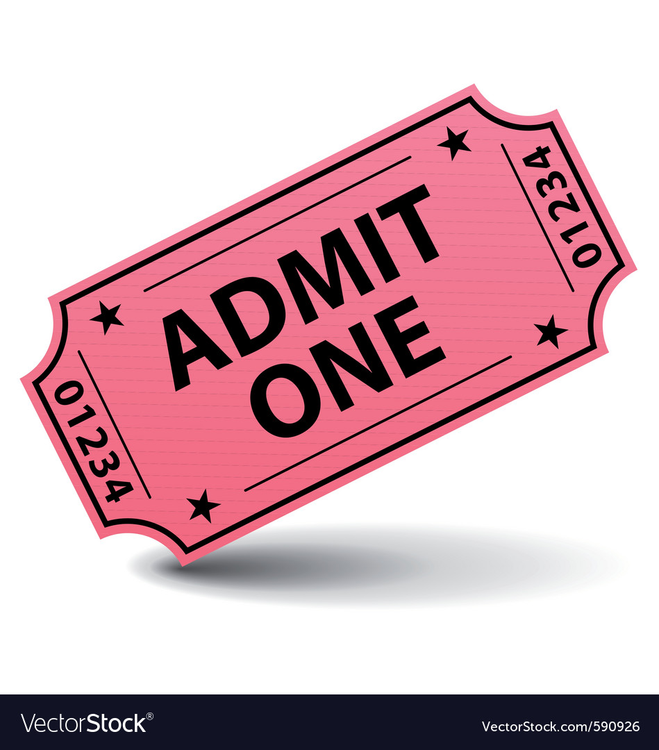 Admit one pink ticket vector image