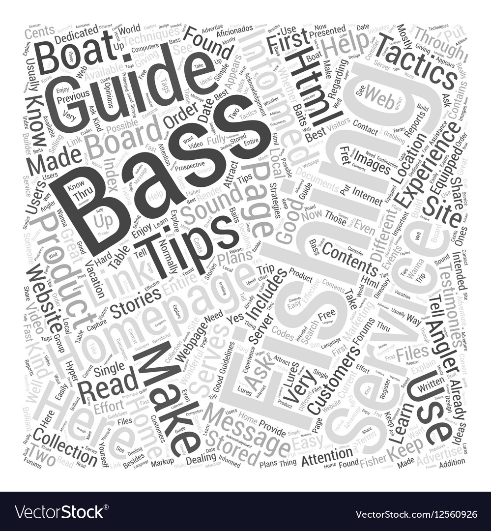 Bass fishing homepage Word Cloud Concept vector image