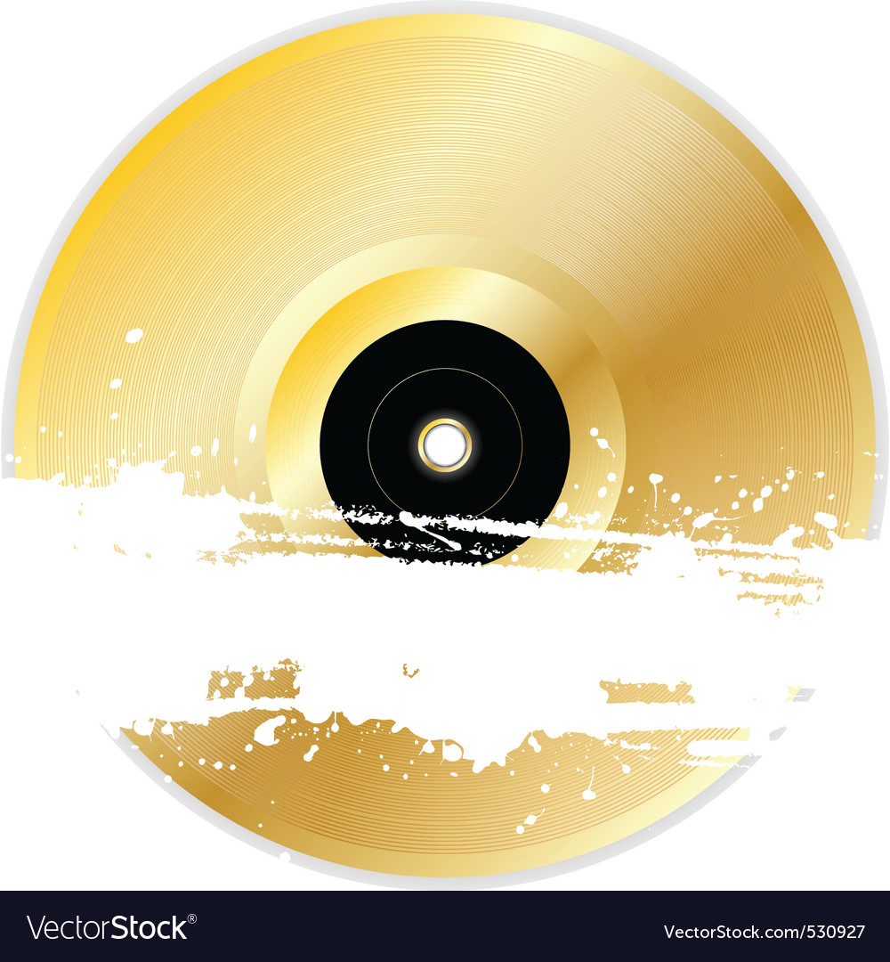 Black vinyl disk with grunge splats and brush stro vector image