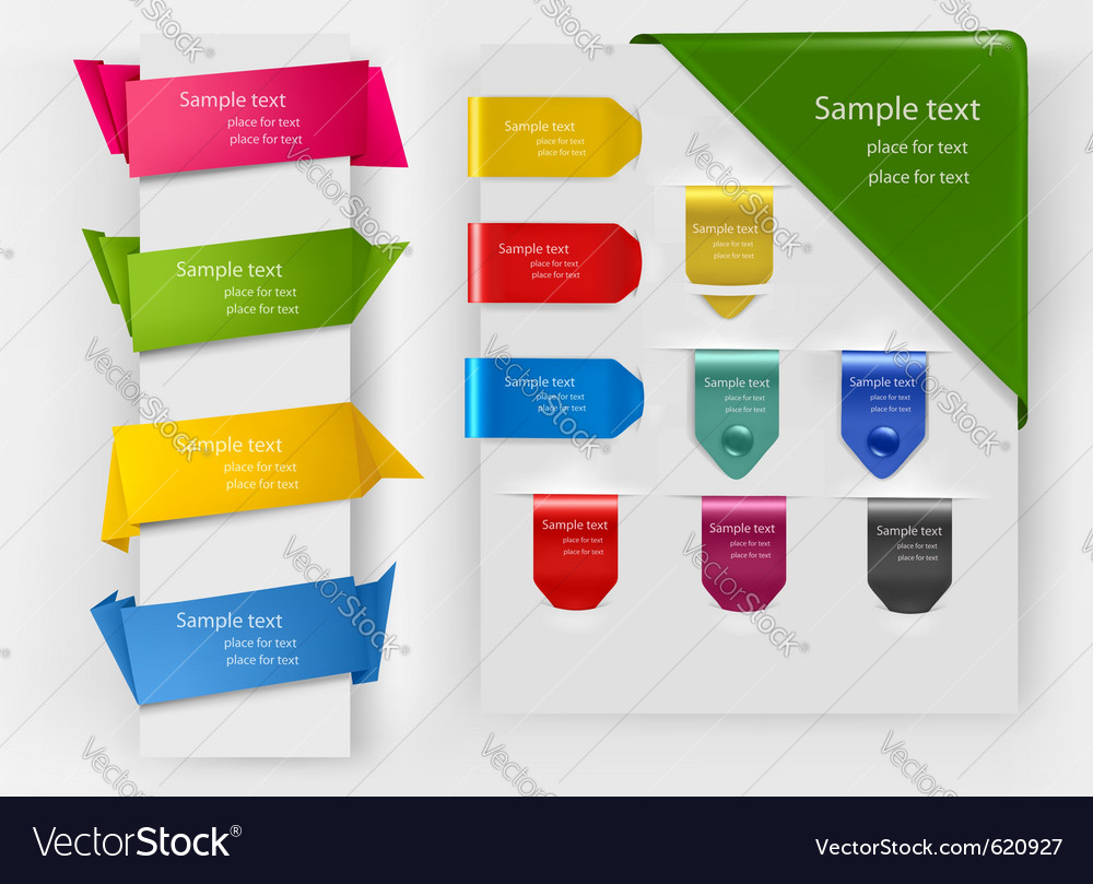 Colorful origami banners vector image