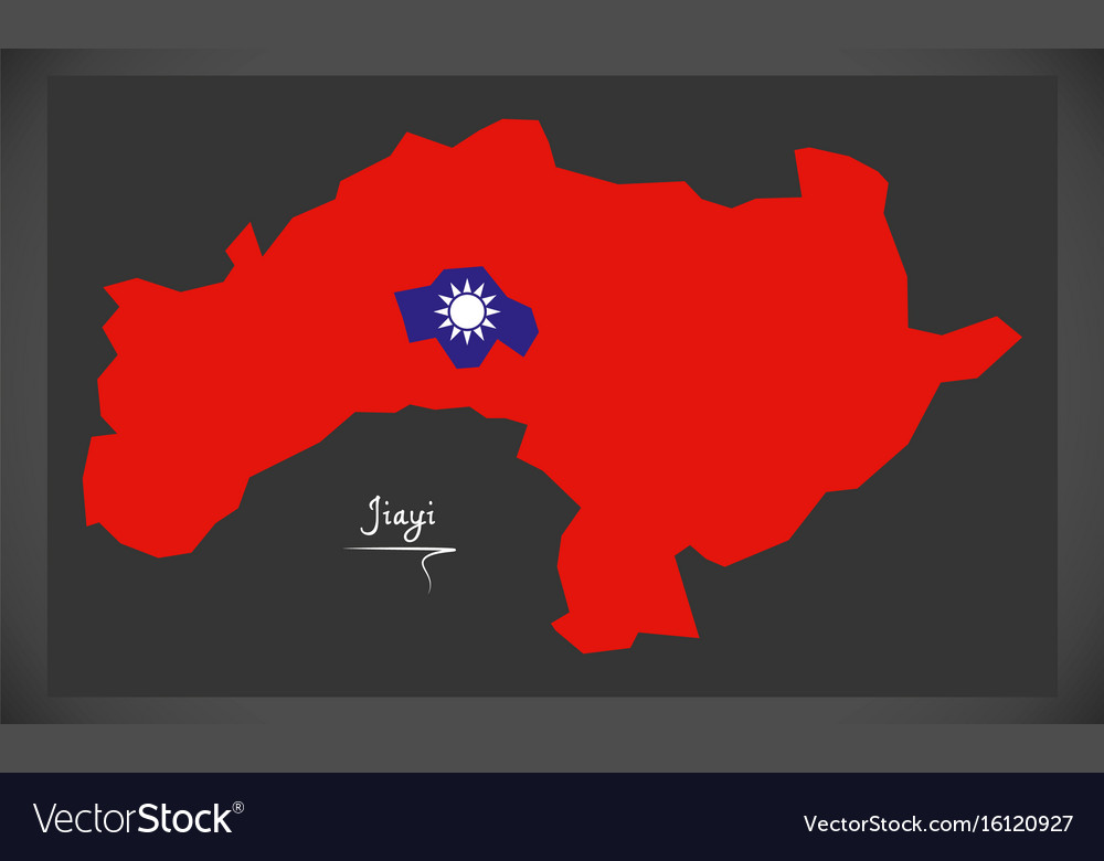 Jiayi taiwan map with taiwanese national flag vector image