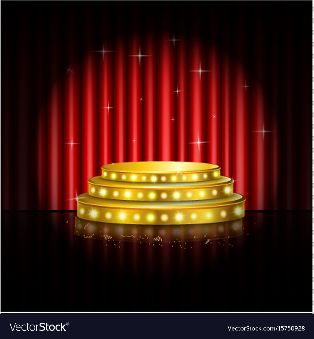 Spotlight golden of empty stage with red curtain vector image