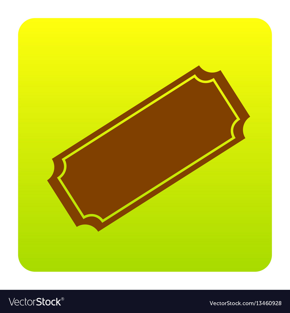 Ticket sign brown icon at vector image