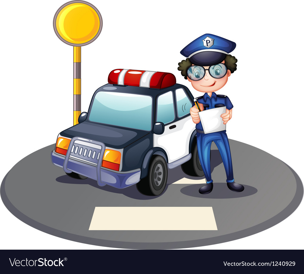 A police officer beside his patrol car vector image