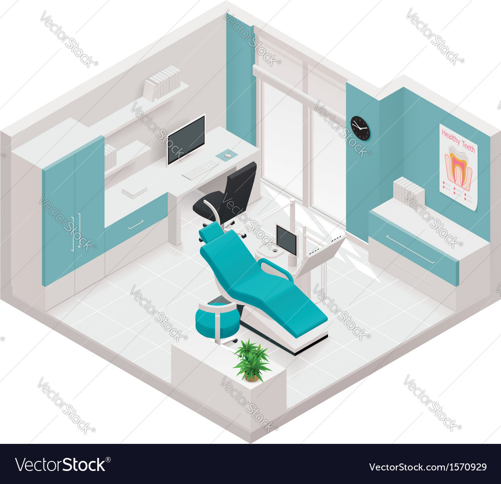 Isometric dental clinic icon vector image
