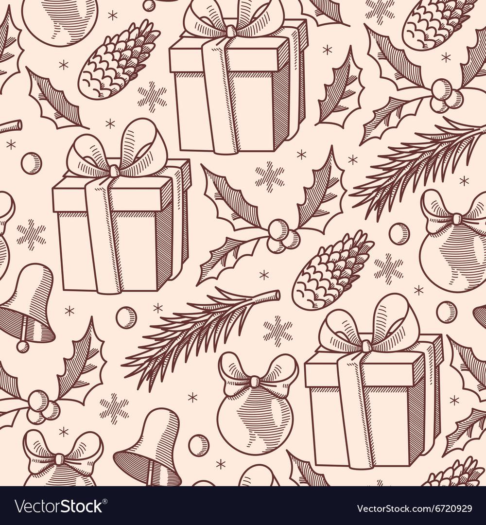Christmas presents seamless vector image