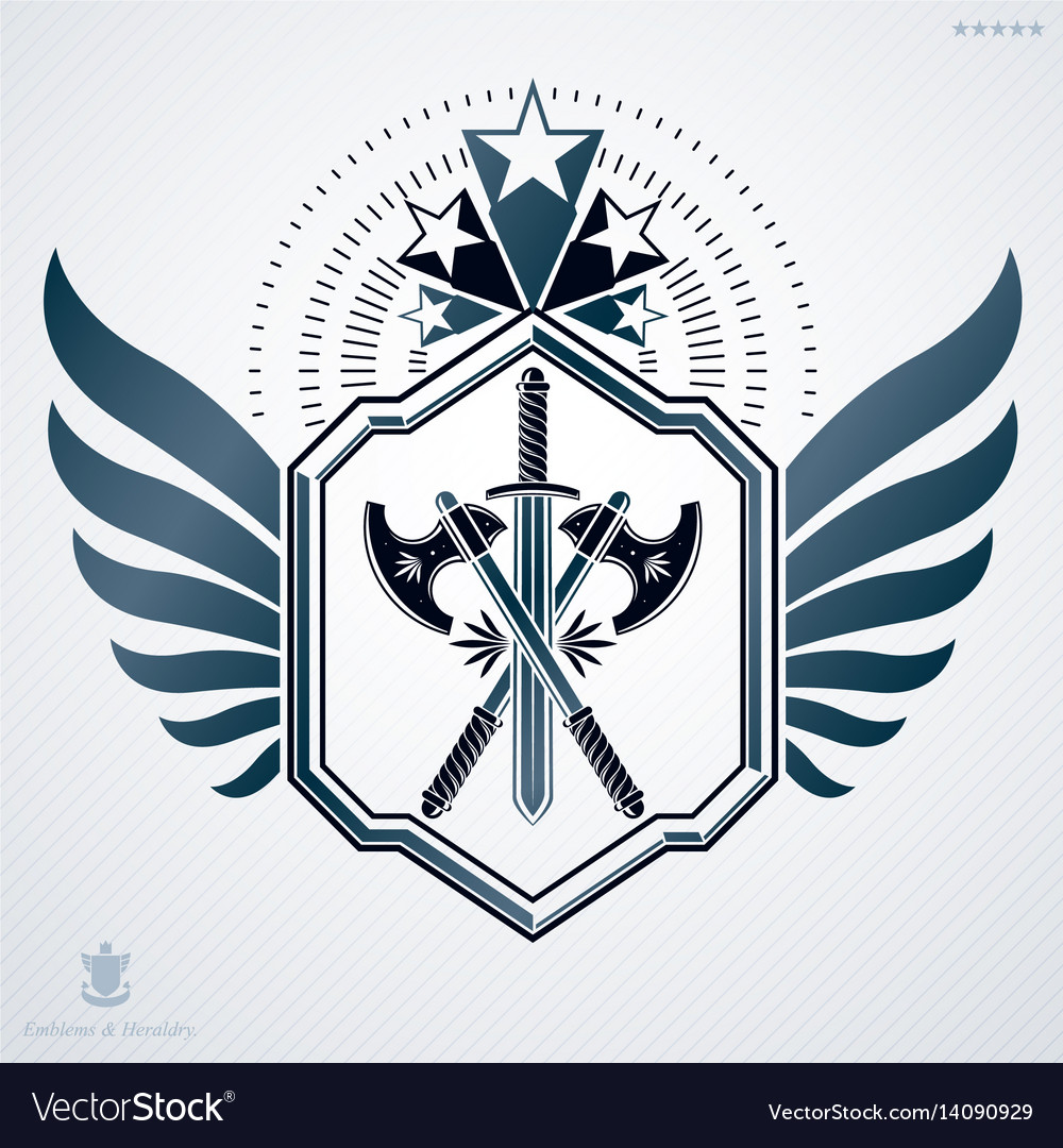 Heraldic sign made using vintage elements armory vector image