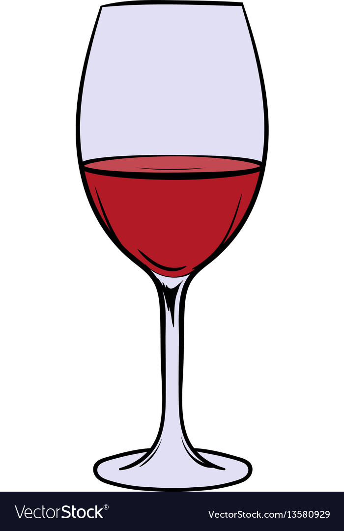 Red wine in glass icon cartoon vector image