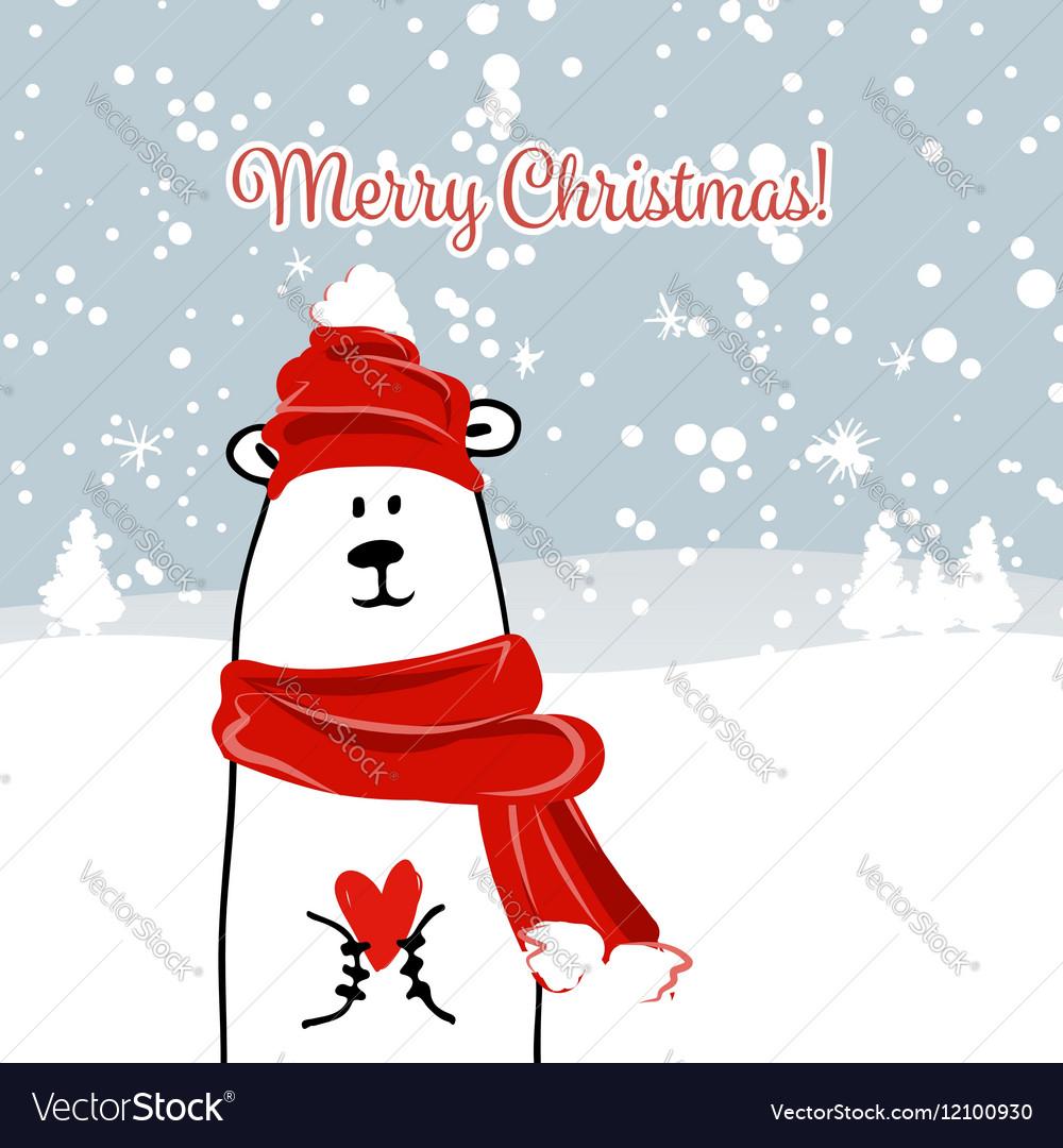 christmas card with white santa bear vector image - Santa Cards