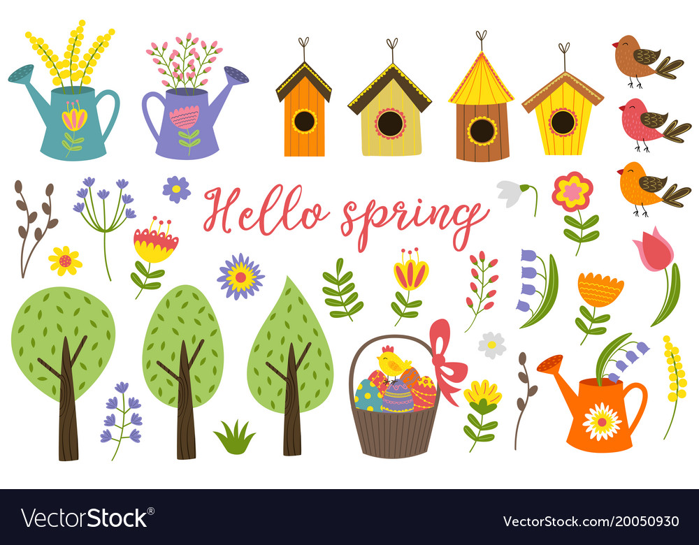 Set of isolated elements of spring vector image