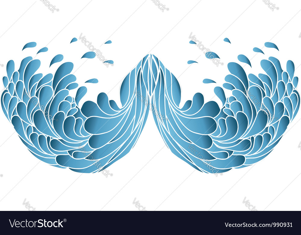 Blue wavesPainted image isolated on white vector image