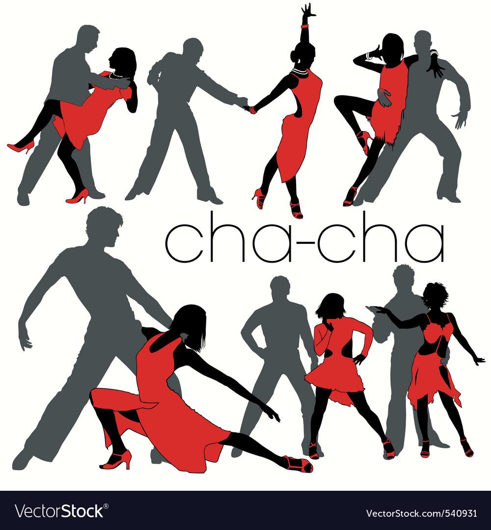 Chacha dancers set vector image
