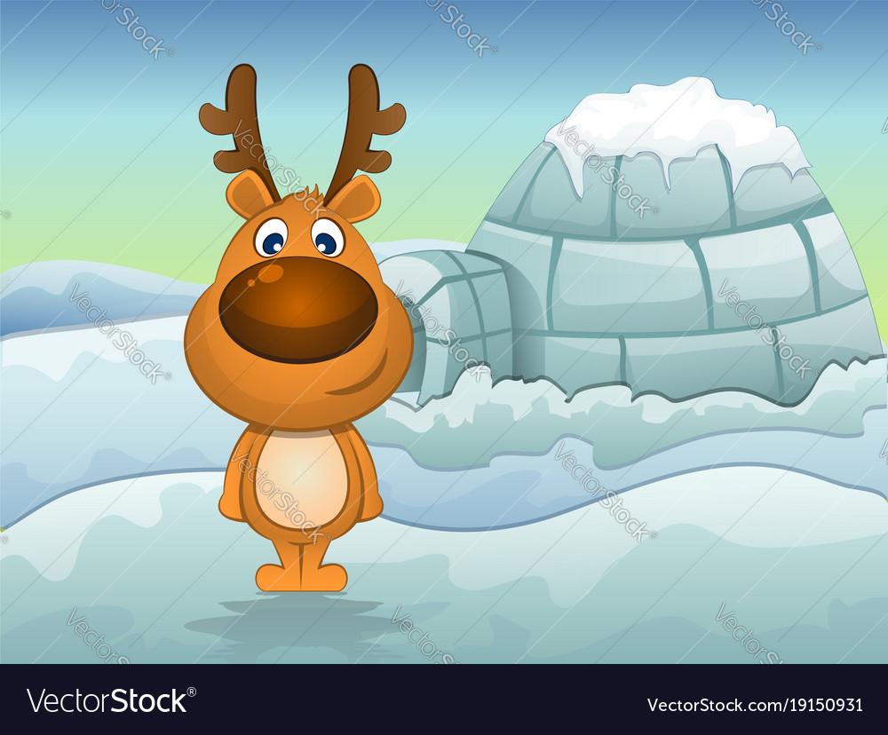 Reindeer in winter vector image