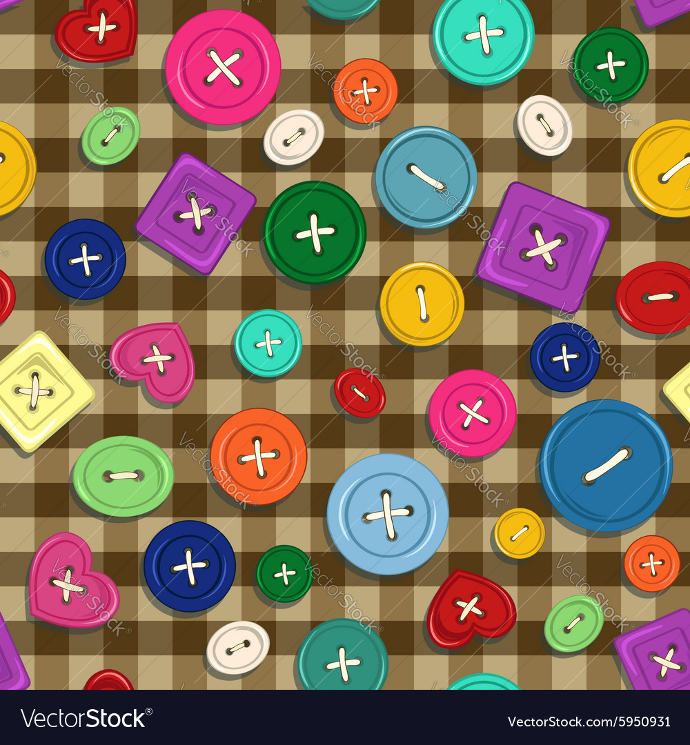 Seamless pattern of buttons vector image