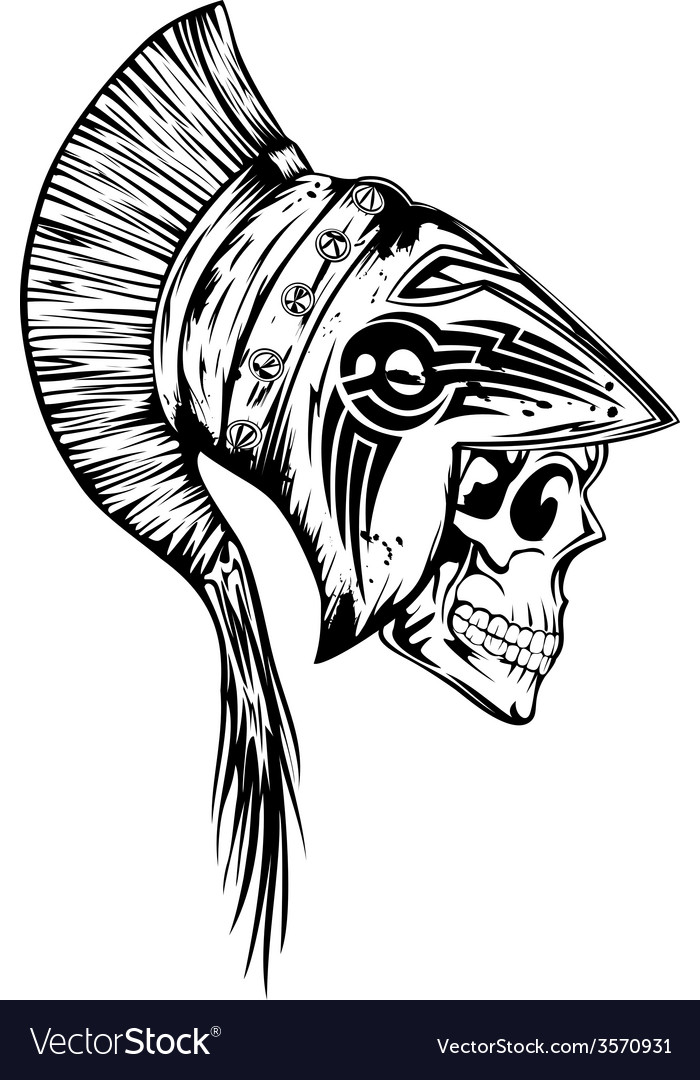 Skull in helmet legionary vector image