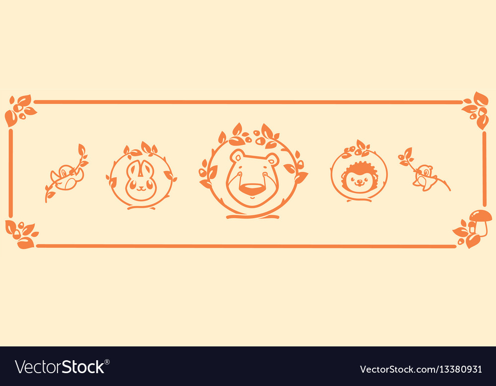 Woodland animals icon set characters bear vector image