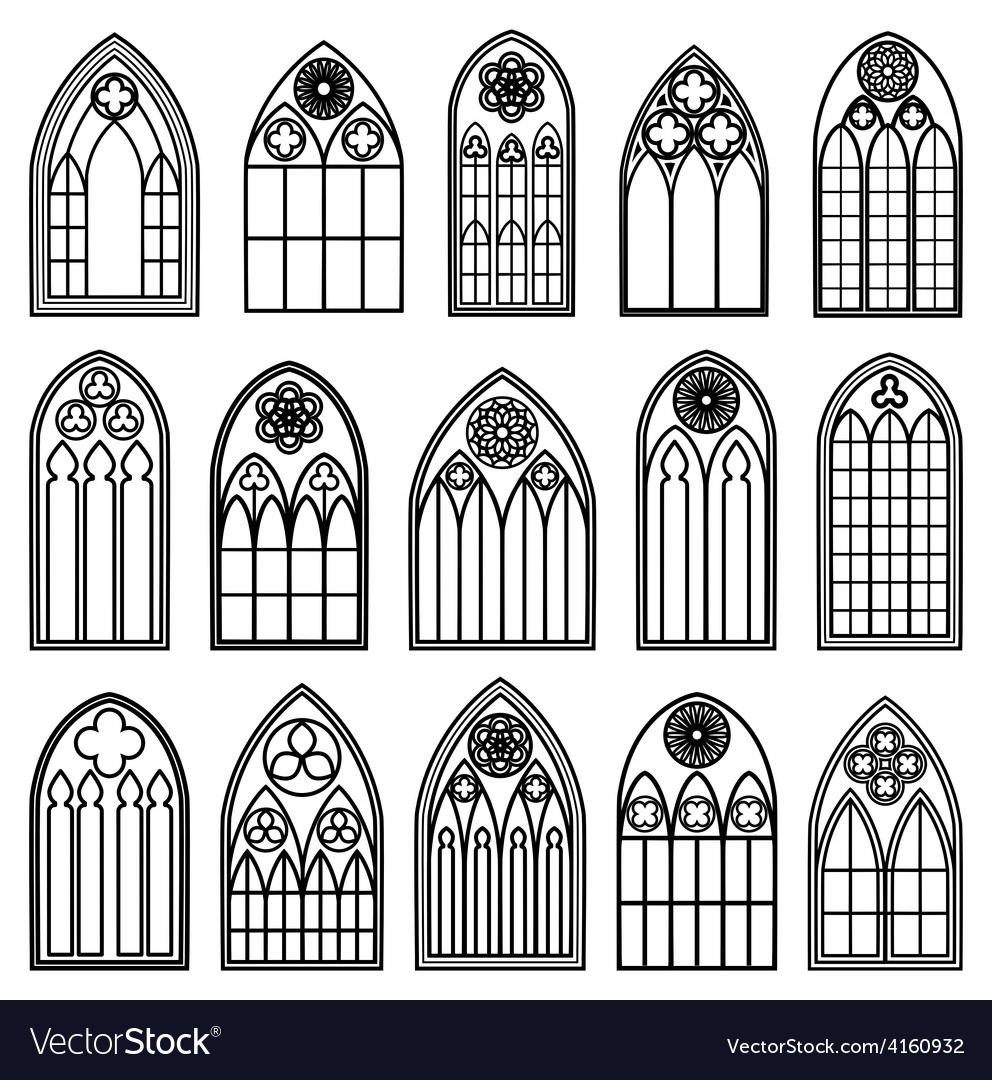 Gothic Window Silhouettes Vector Image